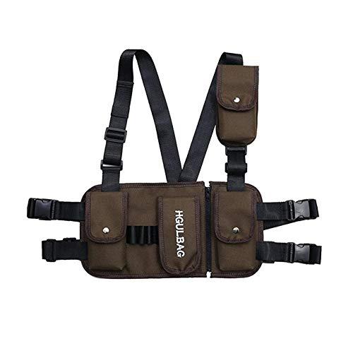 Sacs Banane Waist Bag Cuirasse pour Hommes Hip Hop Streetwear Unisexe Streetwear Feature Pack Sac De Poitrine Tactique Militaire Cross Backpack Brown