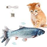 Flysee Hierba gatera Eléctrica Juguete Pez para Gato,Peluche de Juguete eléctrico de simulación Fish con Carga USB,Mascotas Interactivo de Felpa Pez para Masticar, morder, patear y Dormir