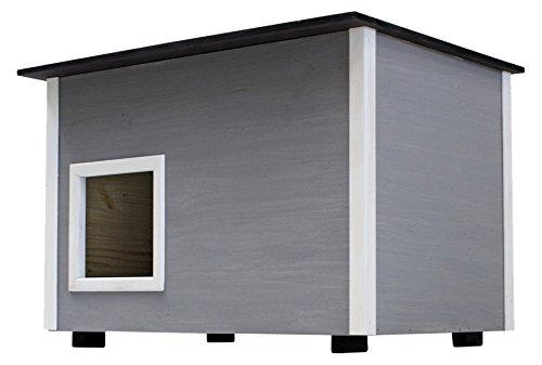 Elmato 10753 Deluxe Katzenhaus (grau mit Isoboden)