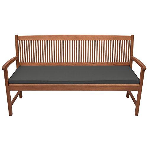 Beautissu Base BK Bankauflage Polster ca. 180x48x5 cm Bequeme Sitzkissen Auflage für Gartenbank – Bankkissen Sitzauflage mit abnehmbarem Bezug in Graphitgrau