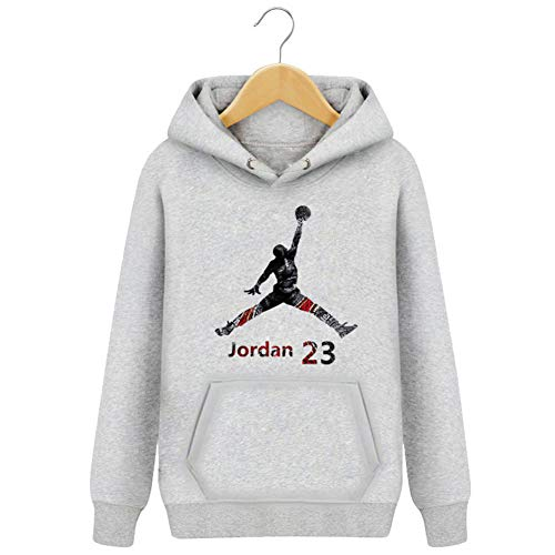 SIMAYI Michael Jordan Basketball Hoodie, Kapuze Pullover Sweatshirts Atmungsaktiver Lauf Hoodie mit praktischer Känguru-Tasche für Herren und Damen,Gray Plus Velvet,S