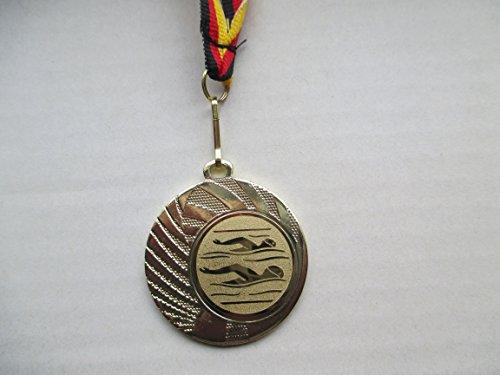Medaillen - Medaille aus Stahl 40mm - mit einem Emblem, Schwimmen - Schwimmensport - inkl. Medaillen-Band - Farbe: Gold - Emblem 25mm - (e262) -