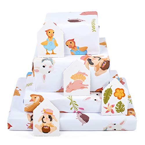 Central 23-6 Wrapping Paper Sheets - Farm Animals - for Boys and Girls New Baby - 1st 2nd 3rd Birthday - Cute Gift Wrap - Recyclable