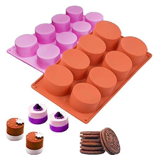 2 Pack Chocolate Cookie Mold, 8-Cavity Round Silicone Baking Molds for Candy Mini Soap, Cake Bread Cupcake Cheesecake Muffin and Jello