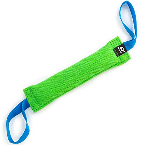 Bull Fit Beisswurst für Hunde, 30 cm, mit Zwei Schlaufen - Sehr Robustes Hundespielzeug zum K9 Training, Tauziehen und Zerrspiele mit Hund - Aus hochwertigem Baumwolle-Nylon handgefertigt (Grün)
