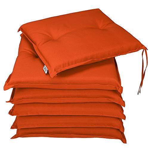 Detex® Stuhlauflagen Boston 6er Set Wasserabweisend Kissen Sitzkissen Stuhlkissen Auflage Sitzauflage Orange