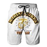 VFBGF Shorts pour Hommes Pantalons à Cinq Points Pantalons de Plage Pantalons décontractés Marine Corps Veteran W EGA Summer Must-Have Beach Men's Beach Shorts