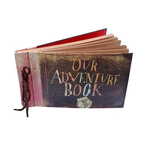 ThxMadam Scrapbook Fotoalbum Selbstgestalten Album Foto Buch Hochzeit Gästebuch Vintage Fotobuch 80 Kraftpapier Seiten für Weihnachten Geburtstag Jahrestag Geschenk,Our Adventure Book
