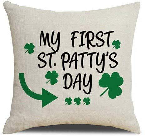 ArthuereBack St. Pattys Day kussensloop Mijn eerste St. Pattys Day kussen klaverblad geluk van de Ierse grote inrichting voor hoeken Veranden Sofas bed