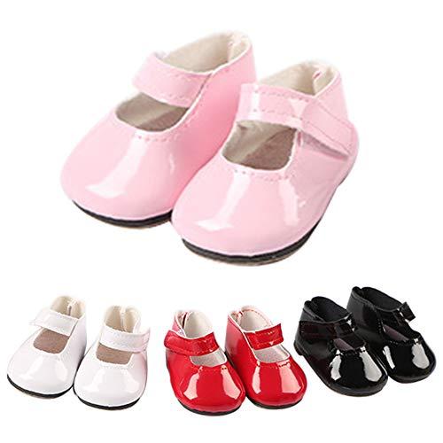 Dyda6 Mini Zapatos de muñeca PU Botas para 18 Pulgadas American muñeca DIY Cute muñeca Juguete decoración niña muñecas Accesorios de Juguete, Rosa, Tamaño Libre