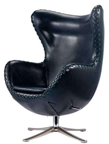 Casa Padrino Echtleder Chair Sessel Dunkelblau/Silber 78 x 83 x H. 110,5 cm - Höhenverstellbarer Drehsessel - Leder Sessel - Echtleder Möbel