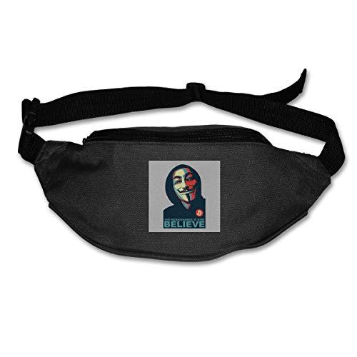 HKUTKUFGU Fanny Pack für Damen Herren Anonym Renaissance V für Vendetta Believe Bitcoin Taillentasche Reisetasche Geldbörse Bauchtasche für Laufen Radfahren Wandern Workout