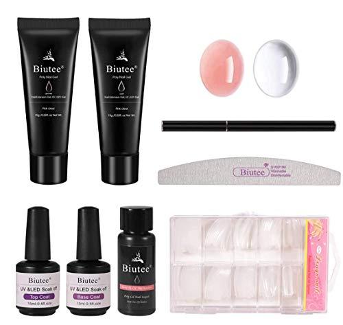 Seisso Kit Esmalte de Gel de Uñas Gel de Uñas acrilicas 15ml Color Rosado y Transparente...