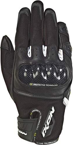 IXON Rise Air - Guantes textiles para motocicleta (talla L), color blanco y negro