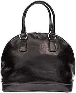 Kaizer KZ1866BLK Top Handle Bag for Women - Leather, Black