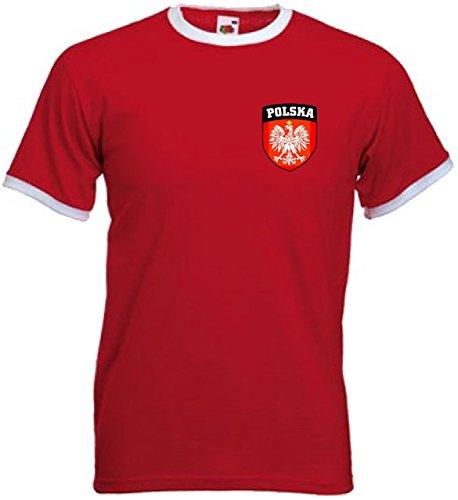 POLONIA POLSKA PULIDO Escudo Fútbol Nacional Equipo Camiseta Retro Jersey - Todas Las Tallas - Rojo / Blanco, Rojo / Blanco, X-Large