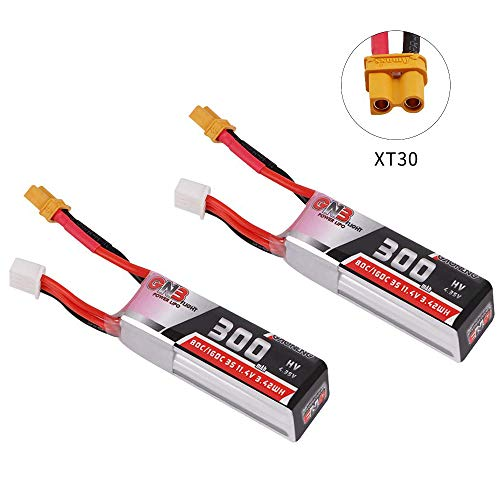 GAONENG 300mAh HV LiPo Battery 3S 80C/160C 11.4V XT30 Connector for Betafpv 75x HD Toothpick Class Quads FPV Racing Drone 2PCS