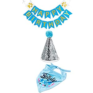 HIPIPET Dog Birthday Bandana Scarfs with Party Hat and Party Decoration