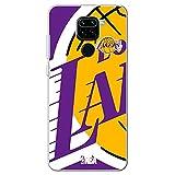 Movilshop Funda para [ Xiaomi Redmi Note 9 ] NBA Equipos Oficial [Los Angeles Lakers] Baloncesto California de Silicona Flexible Transparente Carcasa Case Cover Gel para Smartphone.