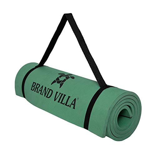 brandvilla Yoga Mat with Carrying Bag Anti Skid Yogamat for Gym Workout and Flooring Exercise Long Size Yoga Mat for Men Women (4mm, Army Green)