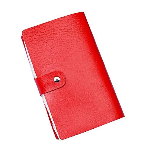 Portatarjetas de Crédito Portatarjetas de Visita Estuche de Cuero Suave para Tarjetas Portatarjetas de Bolsillo Delgado Organizador de Tarjetas de Identificación para Hombres y Mujeres,Rojo