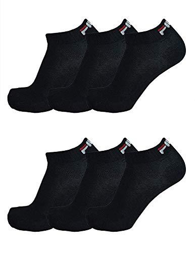 FILA® 6 Paar Socken Quarter Sneakers Unisex, 35-46 Trainer Socks, Einfarbig (43-46 (9-11 UK), Schwarz)