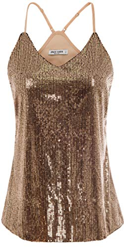 GRACE KARIN Women Shimmer Sequin Sparkle Tank Top Vest Tops Size M,Rose Gold