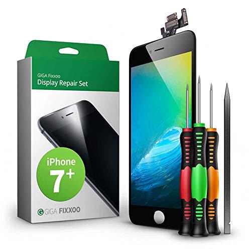 GIGA Fixxoo Kit di Ricambio per Schermo di iPhone 7 Plus, Completo con LCD Nero, Touch Screen Display Retina in Vetro, Fotocamera e Sensore di Prossimità - Guida per Riparazione Facile & Veloce