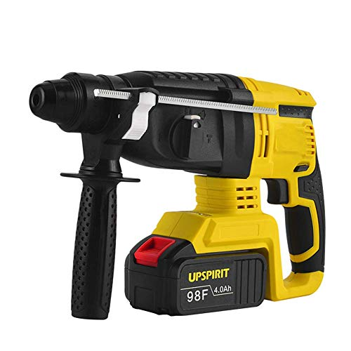 Rotary Hammer Drill with SDS Plus, Brushless Multifunctional Electric Hammer 24V 4.0Ah 1.7J Impact Energy 980BPM 0-1000PM,2 Battery LMMS (Color : 2 Battery)