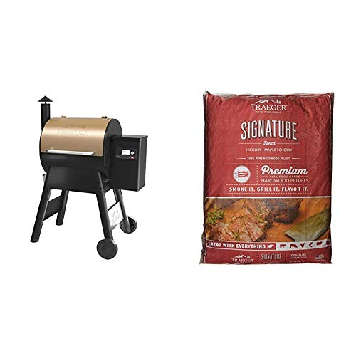 Traeger, TFB57GZEO, Pro Series 575, Grill, Smoker, Bronze & Traeger Grills PEL331 Signature Blend 100% All-Natural Hardwood Pellets - Grill, Smoke, Bake, Roast, Braise, and BBQ (20 lb. Bag) Combination Grill-Smokers Smokers