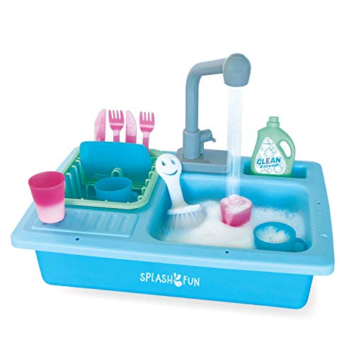 The Bubble Factory SPLASHFUN Wash-up Kitchen Sink Play Set, Color Changing Play Cups & Accessories, Running Water Pretend Play, 15 Pieces, Age 3+, Kitchen Toy Set with Working Faucet, Easy Storage