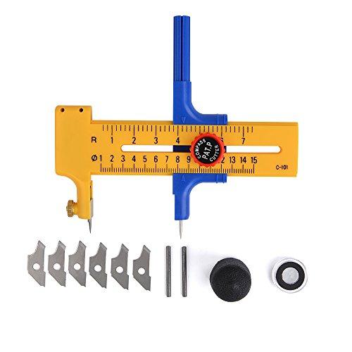 ATPWONZ Kreisschneider für Kreise von 1-15cm,Kreiszeichner, Rundschneider aus Kunststoff und Messing