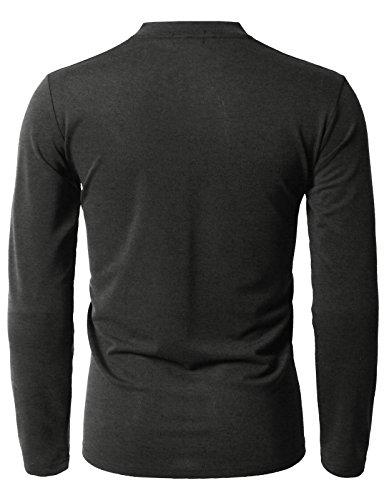 H2H Men's Casual Long Henley Shirts Long Sleeve Fashion T-Shirt Charcoal US L/Asia XL (KMTTL0466)