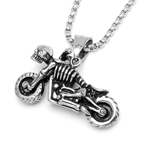 Schmuck-Checker Skelett Motorrad mit Totenkopf aus Edelstahl Silber klein echte Zirkonia Halskette mit Anhänger Kette Biker Bilkerschmuck Rockerschmuck Männer Geschenk
