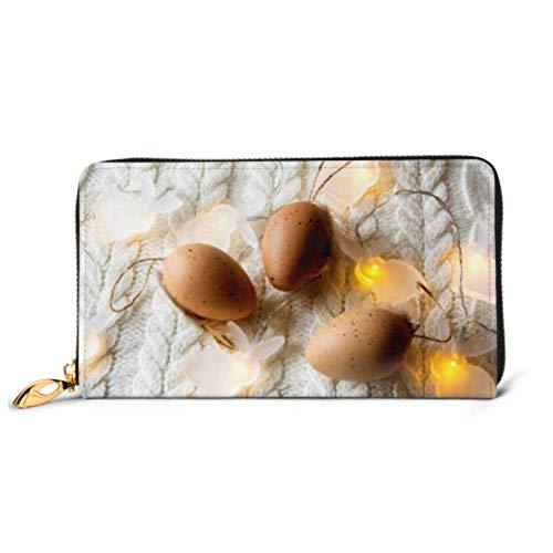 JHGFG Fashion Bag Portafoglio con cerniera Decorazione pasquale Uova decorative Ghirlanda leggera Borsa per telefono Pochette da sera Blocco per portafoglio in pelle Multi Card
