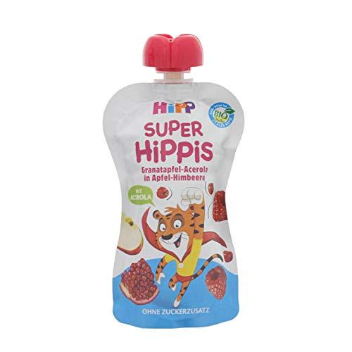 HiPP Super-HiPPiS Quetschbeutel, Granatapfel-Acerola in Apfel-Himbeere, 100% Bio-Früchte ohne Zuckerzusatz, 6 x 100 g Beutel