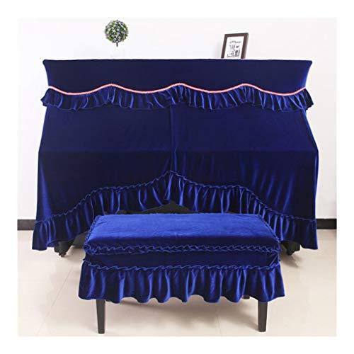 Split rechtopstaande Piano stofkap Europese geplooide rand meubilair decoratieve doek Alle Inclusieve Piano Cover Met Kruk Cases Gordijn Design Cover (Kleur : Blauw)