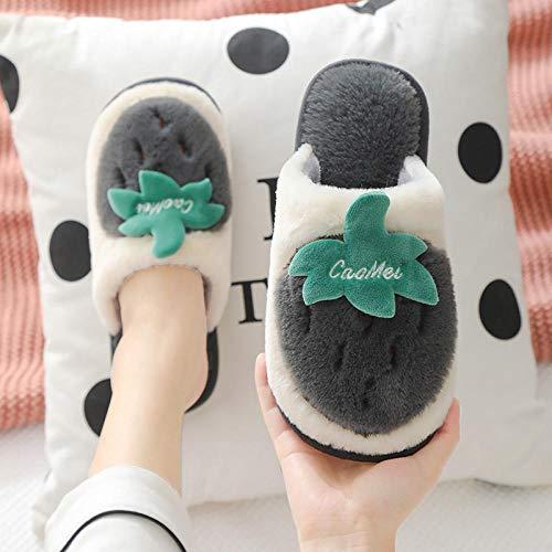 B/H Slipper Interiores y Exteriores,Zapatos de Pana de algodón con tacón Cubierto,...