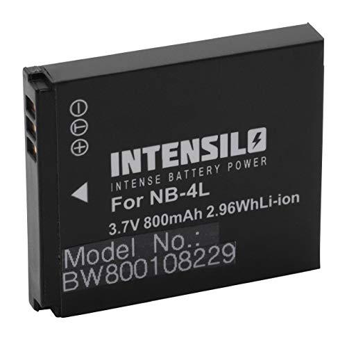 INTENSILO Li-Ion Akku 800mAh (3.7V) für Kamera Camcorder Video Canon Digital Ixus 110 is, 115 HS, 117 HS, 120 is, 130, 220HS, 230HS wie NB-4L.