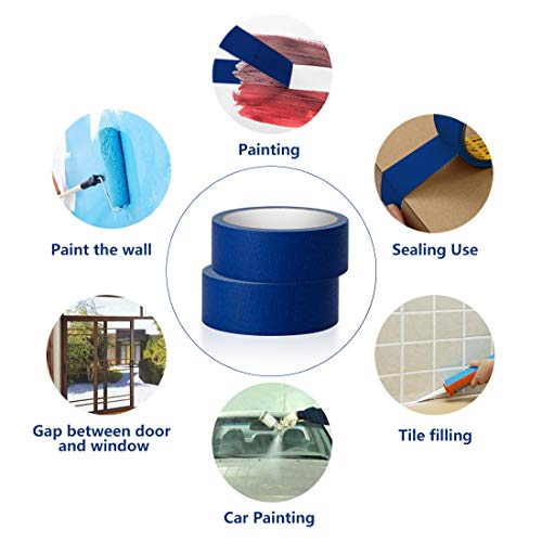 Blue Masking Tape, 16 Roll Multi Purpose Painter Tapes, 1.4 Inch/36 mm Wide,Medium Adhesive Masking Tape with No Residue Behind, 10 Yard/Roll Photo #3