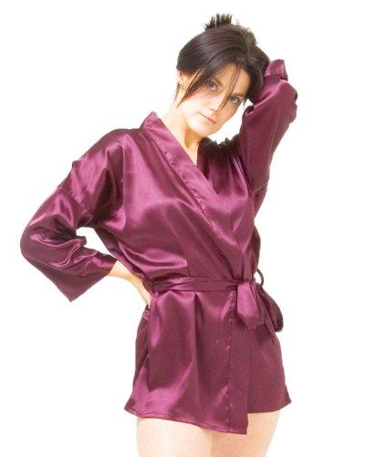 The House of Silk Courte satin kimono - taille: L-XL - couleur: violet