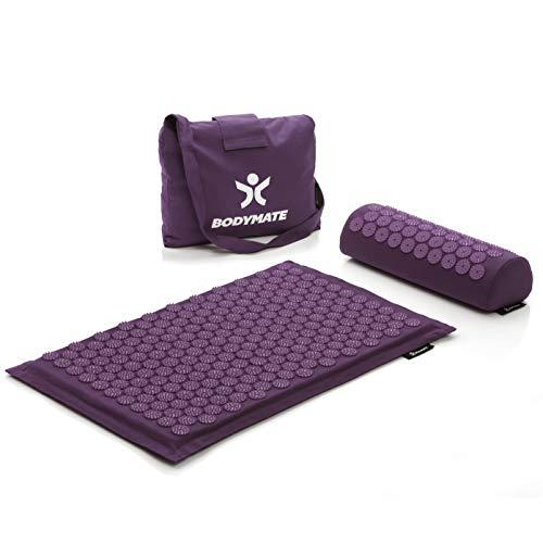 BODYMATE Akupressurmatte, Akupressur-Set inkl. Nackenkissen und Transporttasche, Massagematte zur Selbstheilung, Meditation & Entspannung, Therapiegerät für Zuhause, Purple