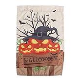 Cabilock DelikatHalloween-Garten-Flaggen-Polyester-verärgertes Kürbis-Führer-dekorative Halloween-Buchstabe-Haus-Fahnen-Flaggen für Urlaubsparty