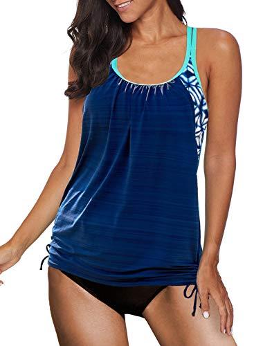 Sidefeel Women's Tummy Control Swimwear Paisley Printed Tankini Swimsuit with Boyshorts Two Piece Bathing Suit Blue Medium 8 10