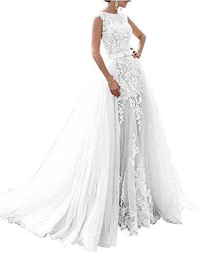 APXPF Damen Meerjungfrau Zwei Stücke schnüren sie Lange Brautkleid mit abnehmbarem Tüllrock 6 Weiß