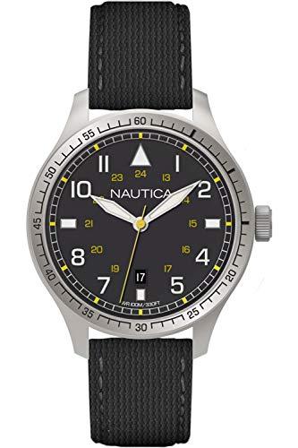 Nautica BFD Herren Uhr analog Quarzwerk mit Leder Armband A10097G