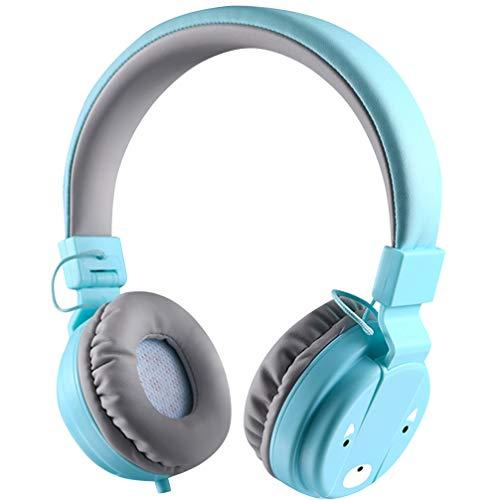 STOBOK Casque pour Enfants Casque Filaire Bleu Ciel Casque Pliable Stéréo 3. Écouteurs de 5 Mm avec Contrôle Micro Écouteurs Mains Libres pour Lecteur Mp3 Smartphone