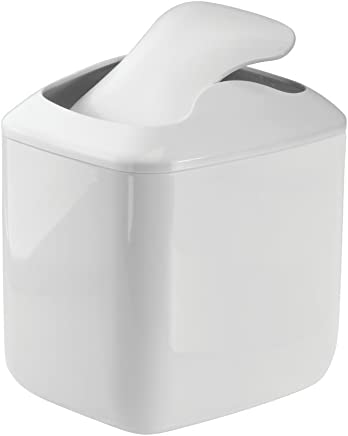 mDesign Small Bathroom Bin with Swinging Hinged Lid - High Quality Plastic Waste Paper Bin for Dressers & Countertops - Ideal as an Under Sink Bin for Disposing of Bathroom Products - White