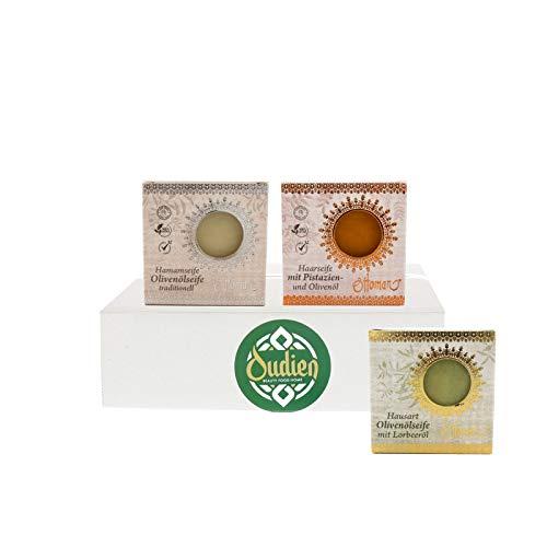 OUDIEN Set aus Ottoman Seife 3er Set aus Lorbeerseife, Hamamseife & Haarseife mit Olivenöl, Naturseifen 3 Stück
