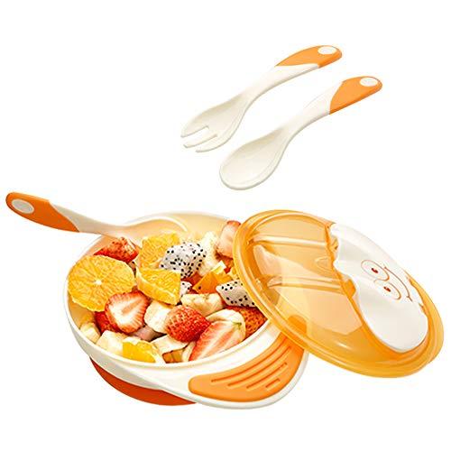 Best Suction Baby Bowl for Infants and 6 Months Solid Feeding - Feeding Bowl 3 in 1 Utensils Set - Non-Slip Bowl, Spork Kit Spoon & Fork, BPA Free Baby Training Bowl(Rabbit, Orange)